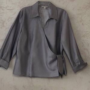 Silver shiny side wrap blouse linen look polyester